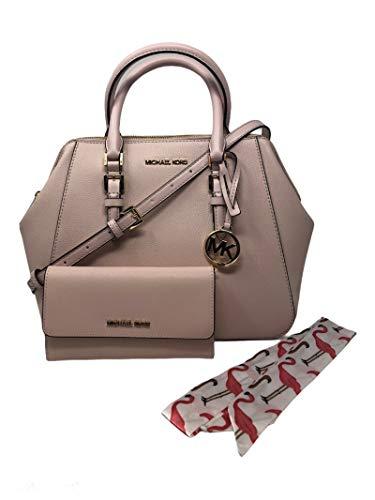 MICHAEL KORS Charlotte Large Satchel Shoulder Handbag Crossbody Leather Bundled with Wallet and Removable Silk Skinny Scarf (Pink)