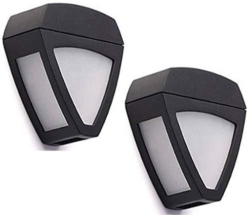 KX&VV LED Solar Light Outdoor IP55 Waterdichte Warm Witte Wandlamp voor Patio Yard Hek Garage Brede Hoek Verlichting, Afmetingen: 10 * 9 * 4CM (Zwart) (2 Pack)