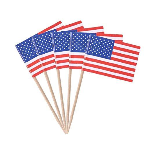 Yoyakie 100pcs Bandera Americana De Papel Selecciones Mini Alimento De La Fruta Palillo De Dientes Palillos De La Bandera