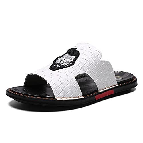 Sandalias Zapatillas para Hombre Personalidad Zapatos de Playa de Hombre de Cuero cómodo Cómodo (Color : White, Size : 40)