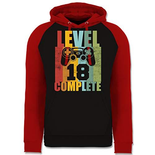 Shirtracer Geburtstag - Level 18 Complete Geburtstag Vintage - XL - Schwarz/Rot - 18. Geburtstag - JH009 - Baseball Hoodie
