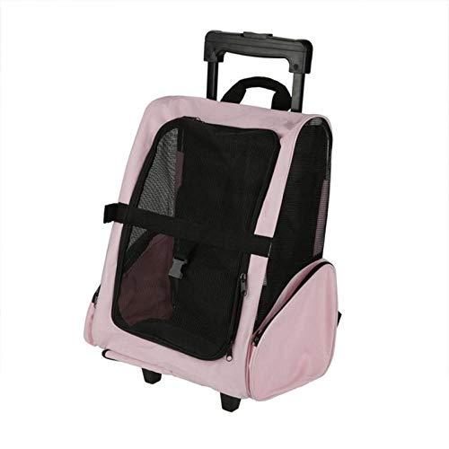 SHYSBV Draagbare huisdier reisrugzak rollende rugzak hond kat tas transport bagage outdoor reistas, XXL, roze