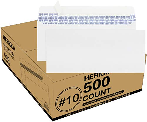 #10 Security Self-Seal Envelopes, No.10 Windowless Bussiness Envelopes, Security Tinted with Printer Friendly Design - Size 4-1/8 x 9-1/2 Inch - White - 24 LB - 500 Count