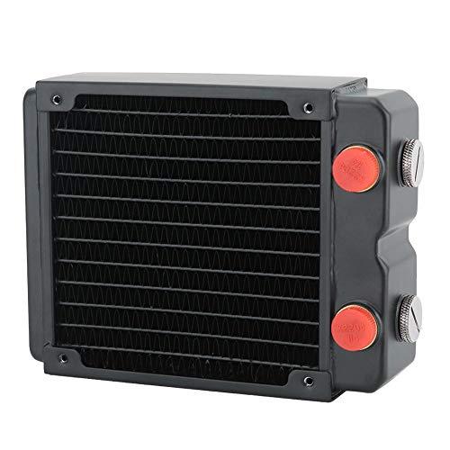 2-laags waterkoeler, G1 / 4-schroefdraad, 120 mm waterkoeling, warmteafvoerende koperen warmteafleider, 2-laags ontwerp met 12 buizen van zo'n pc-warmtewisselaar, versnelt de waterstroom en zorgt voor een betere