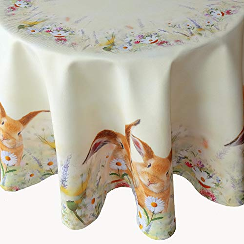Kamaca serie di lepri su prato di fiori, motivo stampato di alta qualità con leprotti, attrazione in primavera e a Pasqua, Poliestere, Tischdecke 130 cm rund