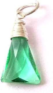 Colgante colombiano esmeralda de alambre trillón envuelto en plata ...