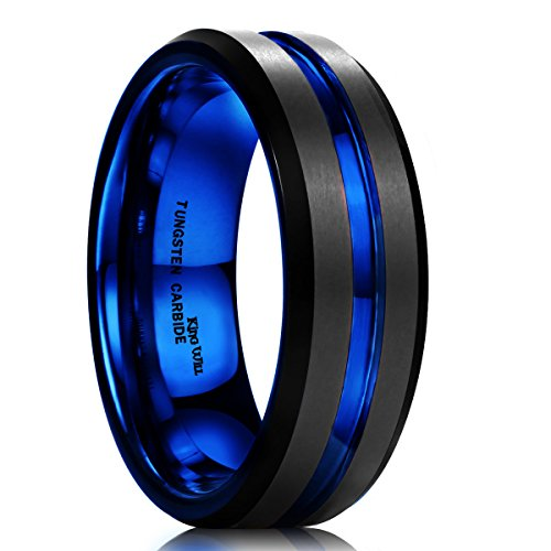 King Will Duo Mens 7mm Black Matte Finish Tungsten Carbide Ring Blue Beveled Edge Wedding Band(10.5)