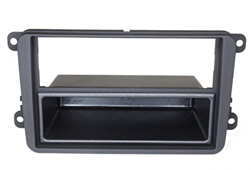 Audioproject A171 - Autoradio Radioblende Doppel DIN kompatibel für VW Golf 5 + 6 Touran Passat 3C Caddy EOS Skoda Octavia Einbau-Rahmen 2-DIN 1-Din mit Fach schwarz