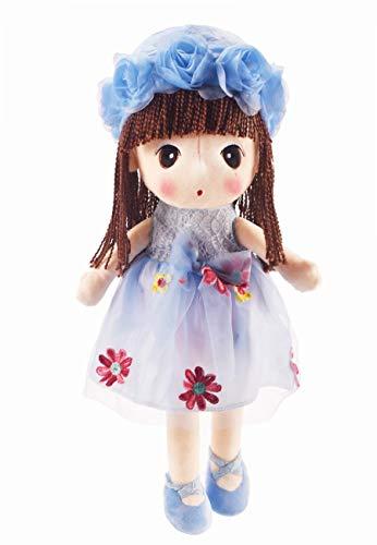 HWD Kawaii Stuffed Soft Flower Girl Plush Toy Doll Girls Gift , 18 Inch ( Blue )