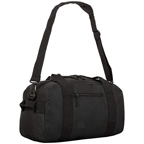 Highlander Cargo Bag 30L Durable Canvas Holdall ideal for Travel or as a Sport Duffle Bag (Black)