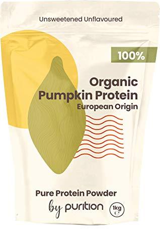 Natural 100% Vegan Organic Pumpkin Protein Powder by Purition - Nutritious Plant-based Protein, European Origin, Gluten & Dairy Free - 1KG