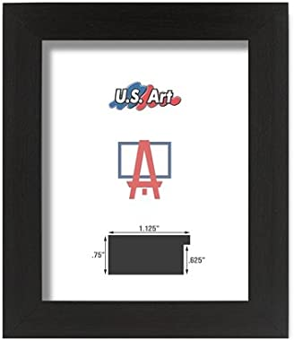 US Art Frames 16 by 24-Inch Picture Frame, Smooth Wrap Finish, 1.125-Inch Wide Flat, Black, Solid Poplar Hardwood