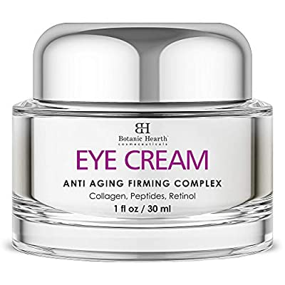 Botanic Hearth Anti Aging Eye Cream with Collagen, Peptides, Vitamin A & E - Hydrating & Firming Cream Gel Reduce Fine Lines and Wrinkles - Day & Night - for All Skin Types - Men & Women - 1 fl oz
