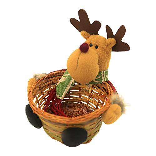 Gcroet Navidad Almacenamiento de Caramelo de Navidad Decoración del Ornamento, Navidad Decoración de Caramelo Cesta Elk Diseño Caramelo de la Navidad la Cesta de Mimbre de bambú Tejido de Cesta S