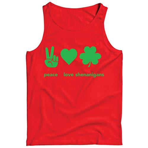 lepni.me Camisetas de Tirantes para Hombre Paz y Amor Shenanigans Regalo para la Fiesta del Día de San Patricio en Irlanda (XL Rojo Multicolor)