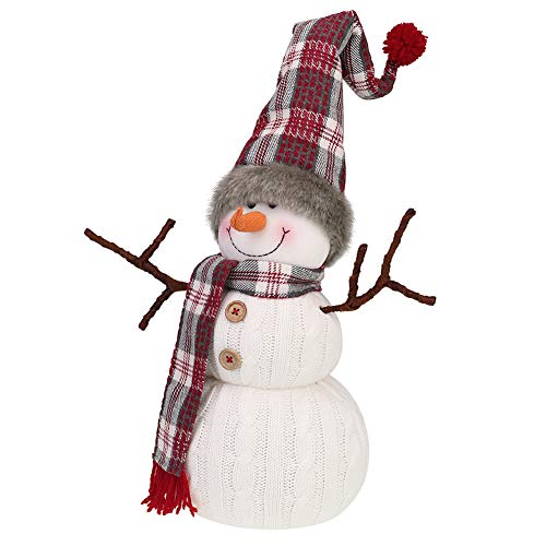 Worldeco Christmas Handmade Gift Cute Snowman Animated Plush Knit Doll Collectible Figurine Xmas Bedroom Home Decorations Holiday Presents 20 inch
