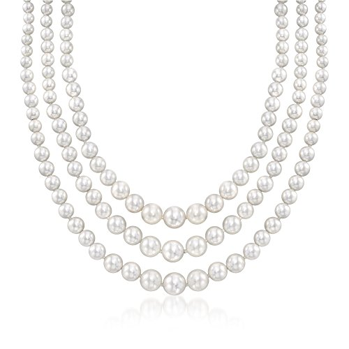 Ross-Simons 6-12mm Shell Pearl Graduated 3-Strand Necklace With Sterling Silver. 18 inches