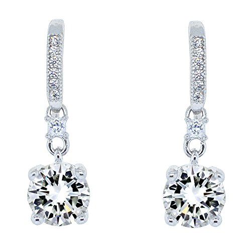 Cate & Chloe Valerie Pride 18k White Gold Plated Round Cut Drop Earrings w/Cubic Zirconia Crytals, Womens White Gold Plated Earrings, Dangle Earring for Women Wedding Anniversary Jewelry