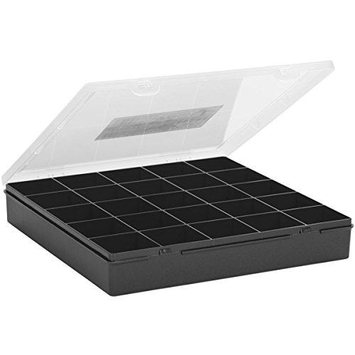 #11 Sortierbox 29x30x5cm mit 25 Fächer Graphite - Aufbewahrungsbox Perlenbox Sortierkasten Organizer Magazin Sortimentskasten Kleinteilmagazin