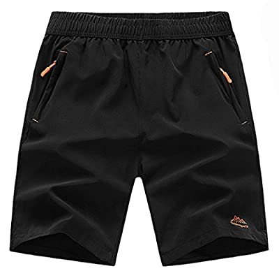 TBMPOY Men's Outdoor Sports Quick Dry Gym Running Shorts Zipper Pockets(Black,2XL)