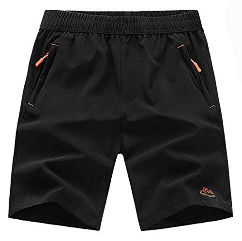 TBMPOY Men's Outdoor Sports Quick Dry Gym Running Shorts Zipper Pockets, 01black, Medium
