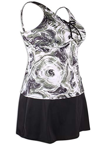 KEEPRONE Women's Plus Size Two-Piece Swimsuit Tie-Dyeing Tankini Top with Skirts