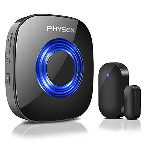 Tür Fenster Sensor Klingel PHYSEN Türsensor mit Magnetsensor, 52 Klingeltöne mit LED-Anzeige für Zuhause/Büro/Geschäfte, Schwarz