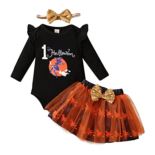 Conjunto de 3 piezas para Halloween de bebé niña con lazo + camiseta estampada de manga larga de encaje + falda corta de gasa estampada, Negro , 3-6 Meses