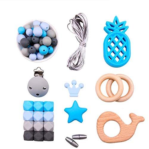 Mamimami Home DIY Pflege Armband Silikon-Teether Halskette Schnuller-Clips Holzring Zahnen Perlen Baby Spielzeug Baby-Duschen-Geschenk