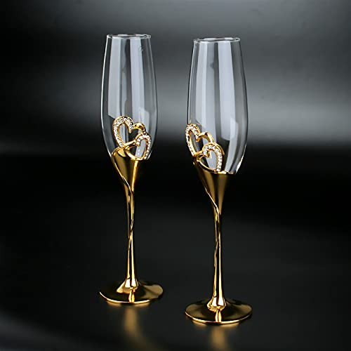 1 par de copas de vino tinto color plata con 2 anillos (Color : GOLD)