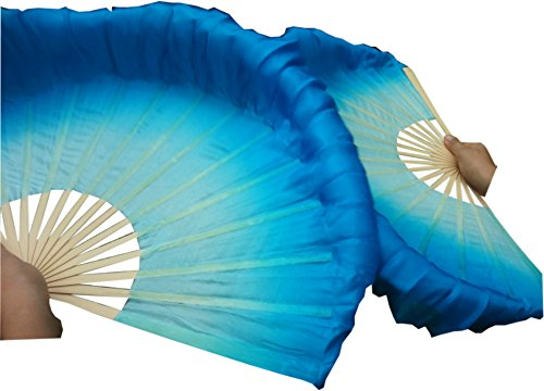 Winged Sirenny Hand Painted Flowy 4' Silk Folding Flutter Dance Fan, Kungfu Taichi Fan for Chinese Dance Performance. Practice Fans for Beginners (Light Turquoise-Turquoise)