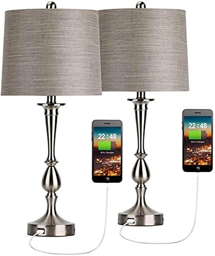 Maxk Lámparas para mesa de comedor,Lámparas Para La Mesa De La Sala De Estar, Lámpara De Mesa USB Conjunto De 2 Lámpara De Escritorio De Plata De Noche Moderna Con Puerto USB Para Sala De Estar Dormit