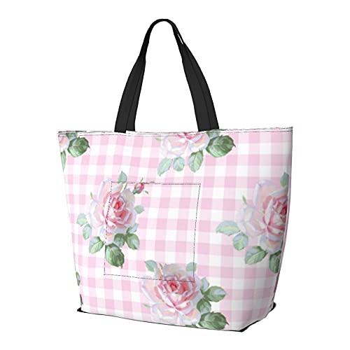 FJJLOVE Umhängetasche Garden Roses Gingham Große Kapazität Handtasche Leichte Einkaufstasche Reise Strandtasche Für Frauen