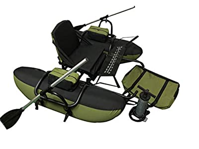 Wistar Inflatable Fishing Float Tube Pontoon Boat with Padded seat,Paddles & a Big Carry Bag Foot air Pump one Person only