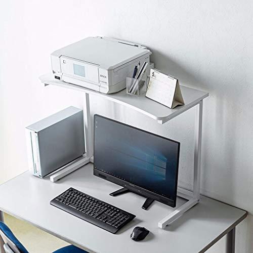 Soportes de Impresora Impresora de metal rack, rack de almacenamiento de escritorio de oficina, Misceláneas del hogar rack, mesa lateral, una pequeña mesa de café, puede soportar 20 kg, blanca Soporte