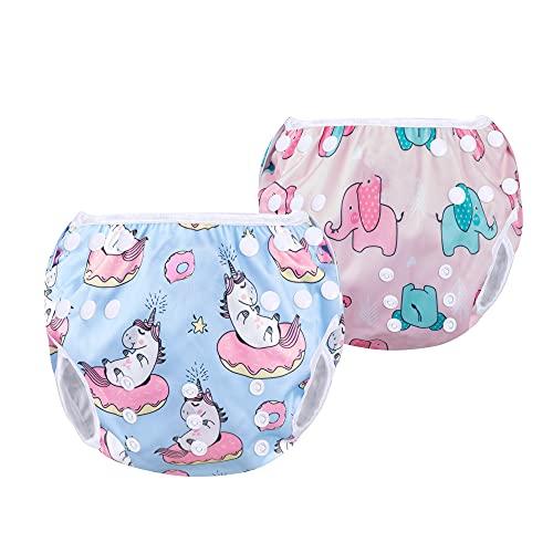 Luxja Riutilizzabile Pannolini da Nuoto (Confezione da 2), Impermeabile Pannolino Piscina, Costume Pannolino Neonato (0-3 Anni), Unicorno + Elefantino
