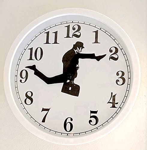 Ministerio de Silly Walks, reloj de pared, inspirado en comedia británica, reloj de pared, reloj de pared, divertido paseo, reloj de pared, divertido reloj de pared, color blanco