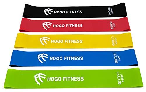 Hogo Fitness Widerstandsbänder [5er Set] Fitnessband Gymnastikband 100% Naturlatex Theraband mit Tragebeutel für Muskelaufbau, Yoga,usw