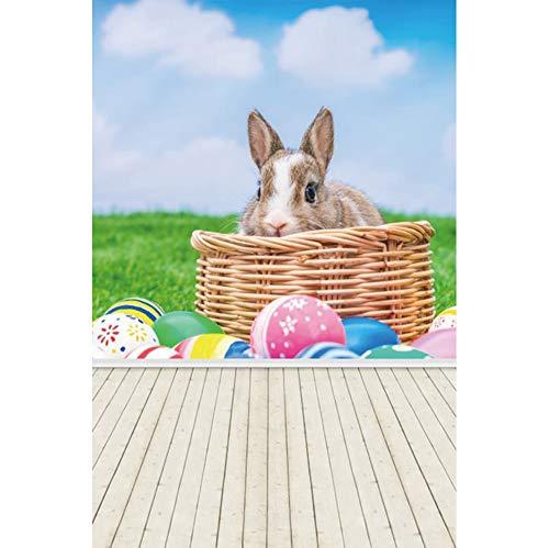 YongFoto 5x7ft Polyester Pasen Achtergrond Voorjaar Achtergrond Pasen Bunny Mand Geschilderde Eieren Groen Gras Houten Vloer Achtergrond voor Partij Pasen Decoratie Photo Studio Fotografie Props