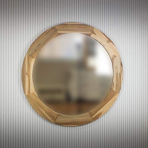 Rococo Espejo Redondo rústico de Madera de Teca Natural de 100cm