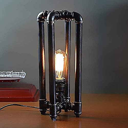 Lámpara Escritorio Estilo del norte europeo retro tubo de hierro forjado lámpara personalidad tubería lámpara palo decoración del hogar lámpara de mesa pintura pulido corte soldadura lámpara de mesa n