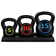 Best Choice Products 3-Piece Kettlebell Set with Storage Rack, HDPE Coated Exercise Fitness Concrete Weights for Home Gym, Strength Training, HIIT Workout 5lb, 10lb, 15lb