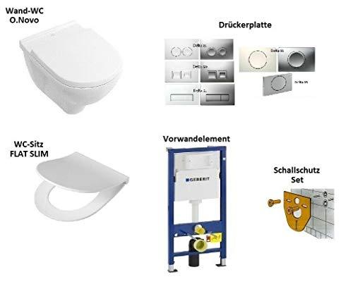 *Komplett-Set* V&B O.Novo Wand-WC + WC-Sitz + Vorwandelement UP100 + Delta Drückerplatte (Delta 50 - Weiss)