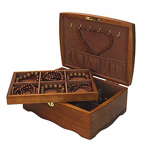 LSRRYD Caja De Joyas De 2 Niveles Organizador De Joyería Caja Joyero con Separador Extraíble Y Cerradura Vintage Caja Joyero para Pendientes, Pulseras, Anillos, Relojes (Size : 30 * 21 * 11CM)