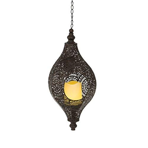 Pureday Solarleuchte Agadir - Orientalische Laterne - Gartenlaterne mit LED Kerze - Metall - Braun