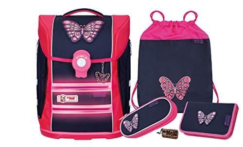 McNeill Schulranzen Mädchen 4-teilig Ergo Primero Butterfly | Schulranzen Mädchen 1. Klasse | Made in Germany | tolles Set für die Grundschule | Schulranzen Set Mädchen - Schultornister Mädchen