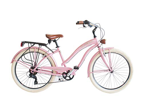Via Veneto 26' Sun on The Beach Cruiser Bicicleta Rosa Retro Vintage Bici Mujer - Airbici