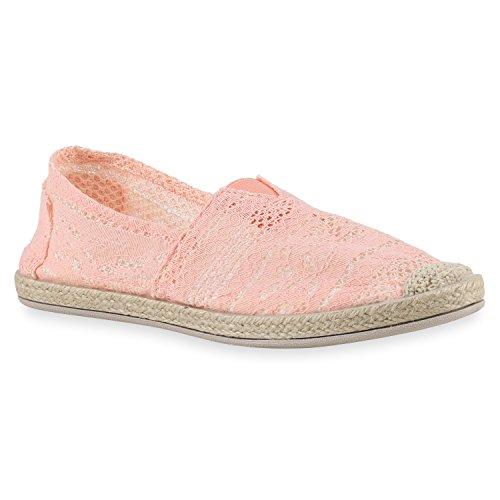 stiefelparadies Damen Slipper Espadrilles Slip-Ons Spitze Bast Freizeit Schuhe 143765 Rosa Spitze 40 Flandell