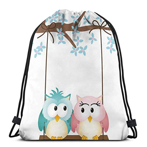 Drawstring Sack Backpacks Bags,Two Owls In Love On A Swing Blossoming Branch Valentines Romance,Adjustable.,5 Liter Capacity,Adjustable.