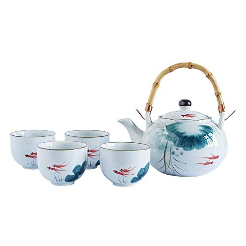 KANJJ-YU Goldfish Glaze Japanese Style Teapot with Handle and Tea Cups Set Service for 4 Adult Beautifully Packaged in Gift Box Excellent Home Decor Asian Afternoon Tea Party (Color : Blue, Size : O